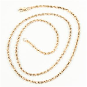 """10k Yellow Gold Rope Chain Necklace 18"""" Length 7.6g"""