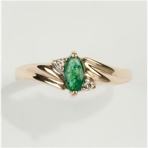 Ladies 14k Yellow Gold Marquise Cut Emerald Solitaire Ring W/ Diamonds .25ctw