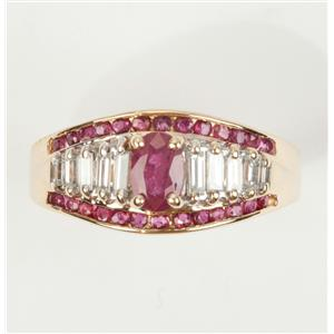Ladies 14k Yellow Gold Oval & Round Cut Natural Ruby & CZ Cocktail Ring 1.70ctw