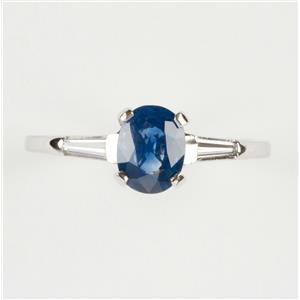 Ladies Platinum Oval Cut Ceylon Sapphire Solitaire Ring W/ Diamond Accent 1.3ctw
