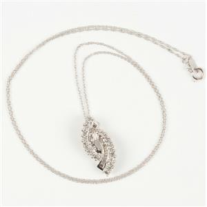 "Ladies 10k White Gold Round & Baguette Cut Diamond Pendant W/ 18"" Chain 1.0ctw"