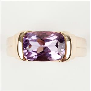 Ladies 14k Yellow Gold Cushion Cut Amethyst Solitaire Ring 3.80ctw
