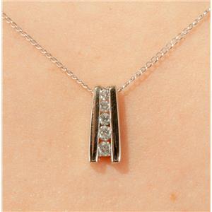 "14k White Gold Round Cut Graduated Diamond Pendant W/ 16"" Chain"