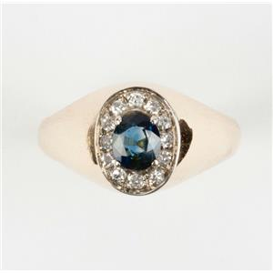 Ladies 14k Yellow Gold Oval Cut Sapphire Solitaire Ring W/ Diamond Accent .68ctw