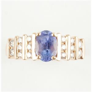 Ladies 14k Yellow Gold Oval Cut Tanzanite Solitaire Ring W/ Diamonds 1.22ctw