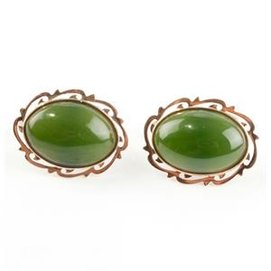 Unique Stunning 14k Rose Gold Oval Cabochon Cut Nephrite Jade Cuff Links 8.9g