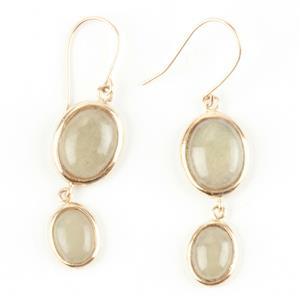 Ladies Beautiful 14k Yellow Gold Oval Cabochon Cut Jade Dangle Earrings