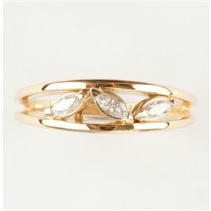 Ladies 18k Yellow Gold Marquise Cut Three-Stone Diamond Ring .18ctw