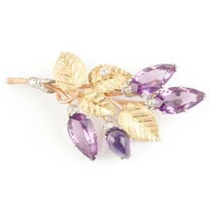 Vintage 1960's Custom Made 18k Yellow Gold Amethyst & Diamond Brooch 18.5ctw