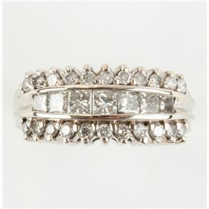 Ladies 14k White Gold Princess & Round Cut Diamond Anniversary Ring 1.50ctw