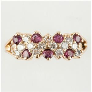 Ladies 14k Yellow Gold Round Cut Ruby & Diamond Cluster Ring 1.02ctw