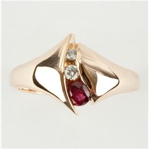 Ladies Modern 14k Yellow Gold Round Cut Ruby & Diamond Ring .325ctw