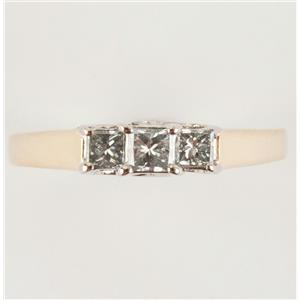 Ladies 14k Two-Tone Princess Cut Three-Stone Diamond Engagement Ring .35ctw