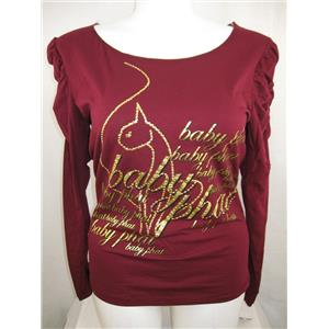 Baby Phat Jean Co Size 2X Bejeweled Line Long Sleeve Top w/Gold Silver Lettering