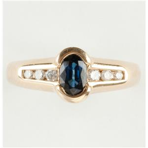 Ladies 14k Yellow Gold Oval Cut Sapphire Solitaire Ring W/ Diamonds .83ctw
