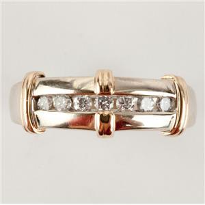 Uni-Sex 14k White & Yellow Gold Two-Tone Round Cut Diamond Ring .28ctw