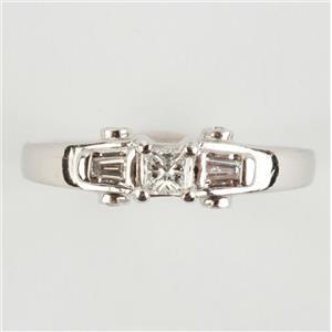 "Ladies .900 Platinum Princess Cut ""H"" Diamond Three-Stone Engagement Ring .35ctw"
