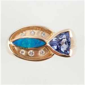 Unique 14k Yellow Gold Trillion Cut Tanzanite / Opal / Diamond Ring .90ctw