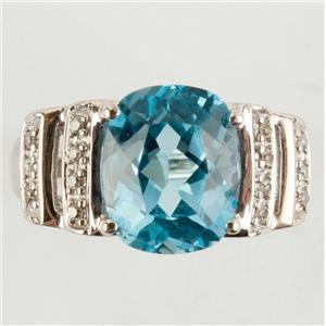 Ladies 14k White Gold Cushion Cut Blue Topaz Solitaire Ring W/ Diamonds 3.57ctw