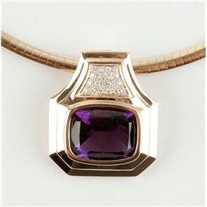 Stunning Large 14k Yellow Gold Diamond & Amethyst Slide Pendant 15.15ctw