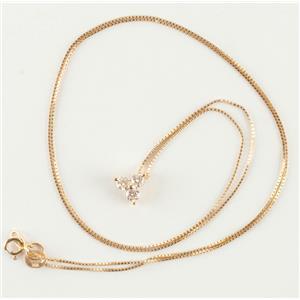 "14k Yellow Gold Round Cut Three-Stone Diamond Pendant W/ 14.5"" Chain .24ctw"