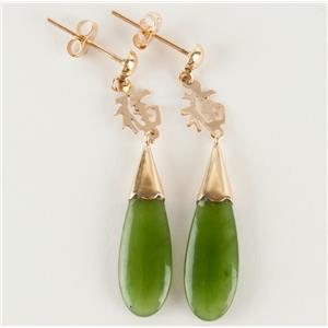 Ladies 14k Yellow Gold Pear Cut Jadeite Dangle Earrings