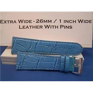 Extra Wide Leather Watchband. 26mm With Pins. Lite blue