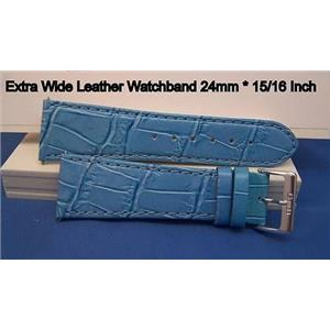 Extra Wide Leather Watchband. 24mm With Pins. Lite blue