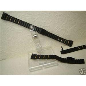 Watch Bracelet Ladies Black and Gold 10mm to 13mm