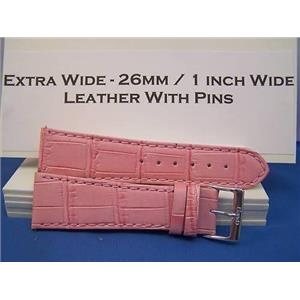 Extra Wide Leather Watchband. 26mm With Pins. Pink
