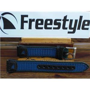 Freestyle Watch Band 17mm Leathe/Nylon Mesh blue/black/Grn.Sport Band Steel buckle