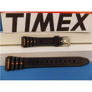 Timex Watch Band Original Ironman Ladies Black Resin Strap with Orange Graphics