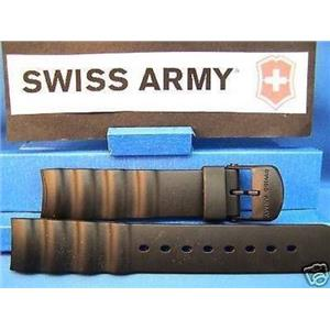 Swiss Army Watch Band Odyssey. Man's Black Rubber Strap/Watchband