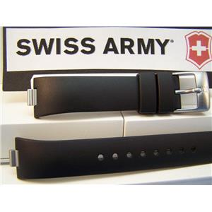Swiss Army Watch Band Summit. Black Resin Ladies Strap / Watchband w/Pins