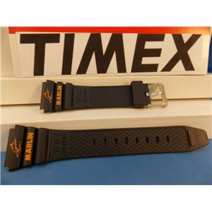 Timex Watch Band Marlin black Resin Orange Graphics strap for 1989 Digital Analog