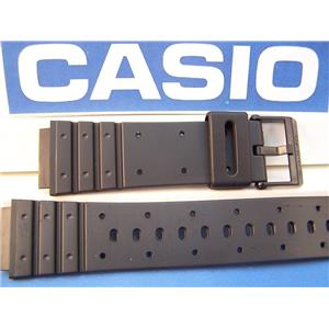 Casio Watch Band MW-400 Black Resin Strap w/Black Logo buckle
