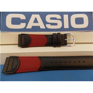 Casio Watch Band W-94 HB Red/Black Nylon Mesh/Leathr 18mm Mens Illuminator Strap