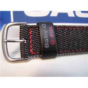 Casio Watch Band BG-151 B. Baby G 20mm 1 pc Denim Strap Red Outline Stitching