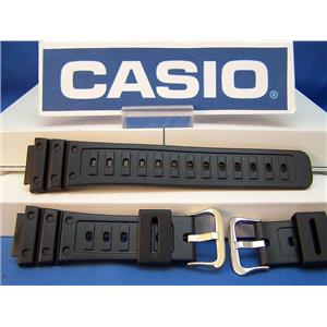 Casio Watch Band DW-5600 C-9 Original G-Shock Blk Resin Strap w/Gold Tone bkle