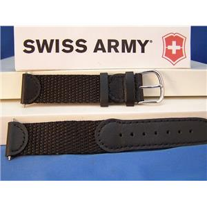 Swiss Army Watch Band Original 2000 black Mens Nylon Mesh/Leather w/Steel buckle