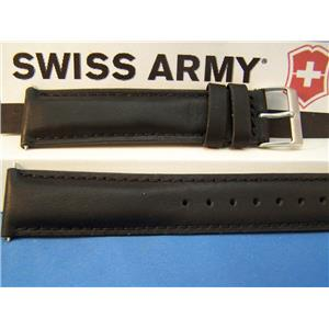 Swiss Army Watch Band Field. 20mm Black Leather Logo Buckle. Stitched and Padded