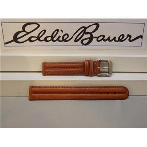 Eddie Bauer 14mm Wide Ladies Leather Brn Padded/Stitched WatchBand W/Pins