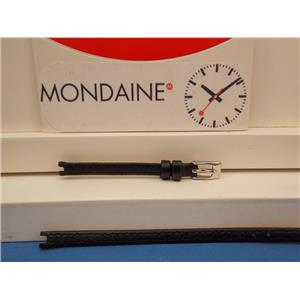 Mondaine Swiss Railways Watch Band FE22206 black 6mm Notched Leather, w/T-Bars