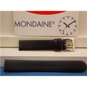 Mondaine Swiss Railways Watch Band FE3116.20Q 16mm wide  Black Leather Strap.