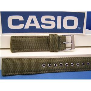 Casio Watch Band AMW-102 B-3 Military Green Cloth/lther 20mm w/Rivet Eyelet/Pins