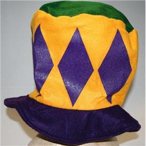 Mardi Gras Fat Tuesday Felt Top Hat Purple Green Yellow