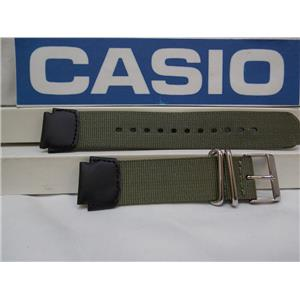 Casio Watch Band AE-1200, MRW-200 Military Colors Green/Black Nylon/Leather 18mm