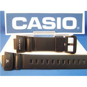 Casio watch band TRT-100 H. Twin Resist WR 100M Black Resin Strap w/Spring Bars