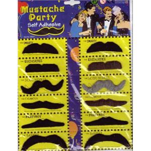 Mustache Party Self Adhesive Mustaches 12 pack