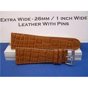 Extra Wide Leather Watchband. 26mm With Pins. Tan
